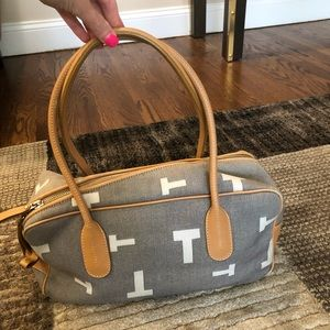 Tod's Grey Canvas Bag with White T Logo & Tan Trim
